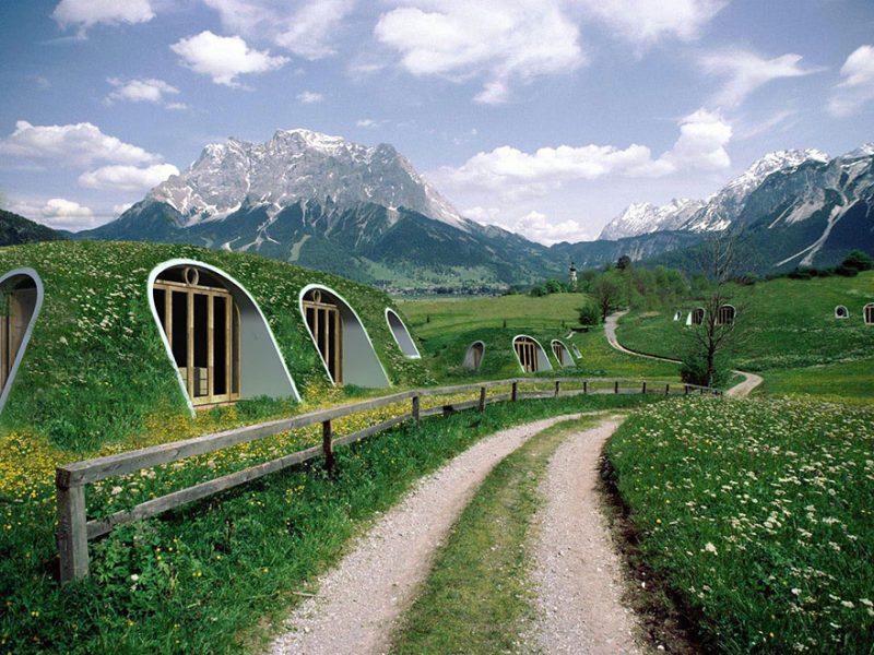 Construiești case prefabricate Hobbit cu acoperiș verde în 3 zile